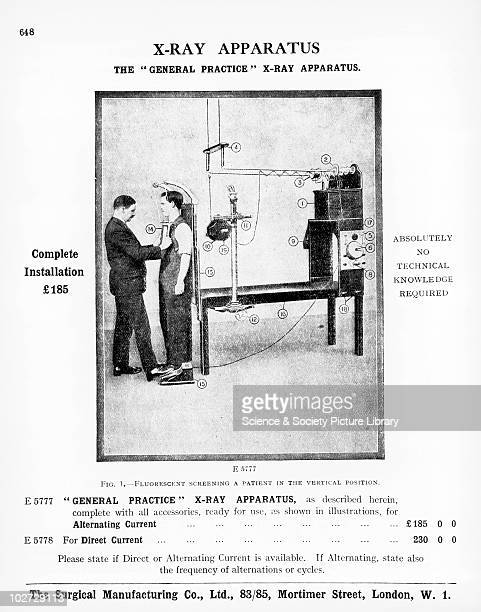 Illustration of Xray apparatus c 1925 From the Catalogue of the Surgical Instruments Manufacturing Co London 1925