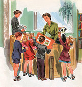 Illustration of young students crowded around the desk of the school librarian circa 1950 Screen print