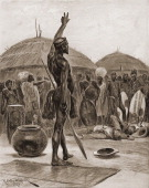 Illustration of Zulu chieftan Dingane kaSenzangakhona as he addresses his people over the bodies of the Boer emissaries he had ordered executed...