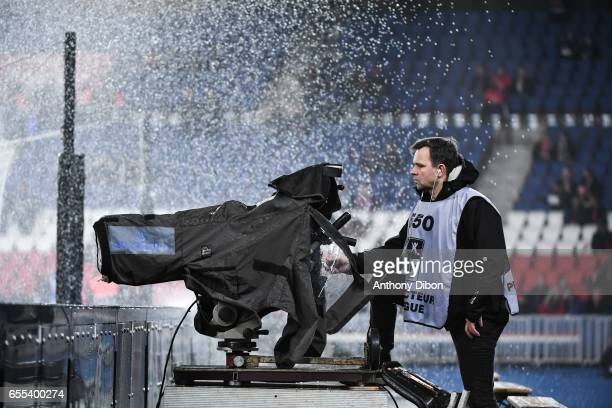 Illustration picture of a tv camera during the French Ligue 1 match between Paris Saint Germain and Lyon at Parc des Princes on March 19 2017 in...