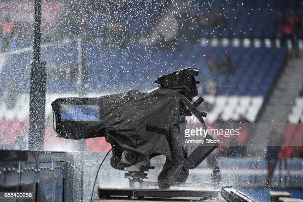Illustration picture of a tv camera under the water during the French Ligue 1 match between Paris Saint Germain and Lyon at Parc des Princes on March...