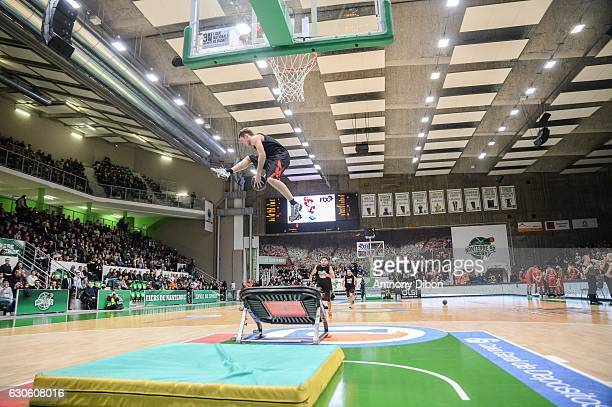 Illustration picture of acrobatics dunk during the Basket ball French Pro A match between Nanterre and Nancy on December 27 2016 in Nanterre France