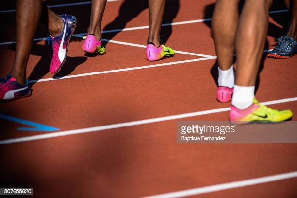 Illustration picture of athletics shoes during the Meeting de Paris of the IAAF Diamond League 2017 at Stade Charlety on July 1 2017 in Paris France