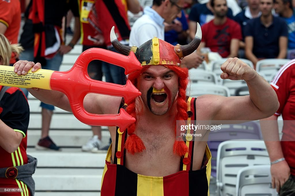 illustration picture of Belgian fans during the UEFA EURO 2016 Round of 16 match between Hungary and Belgium at the Stadium Toulouse on June 26, 2016 in Toulouse, France ,