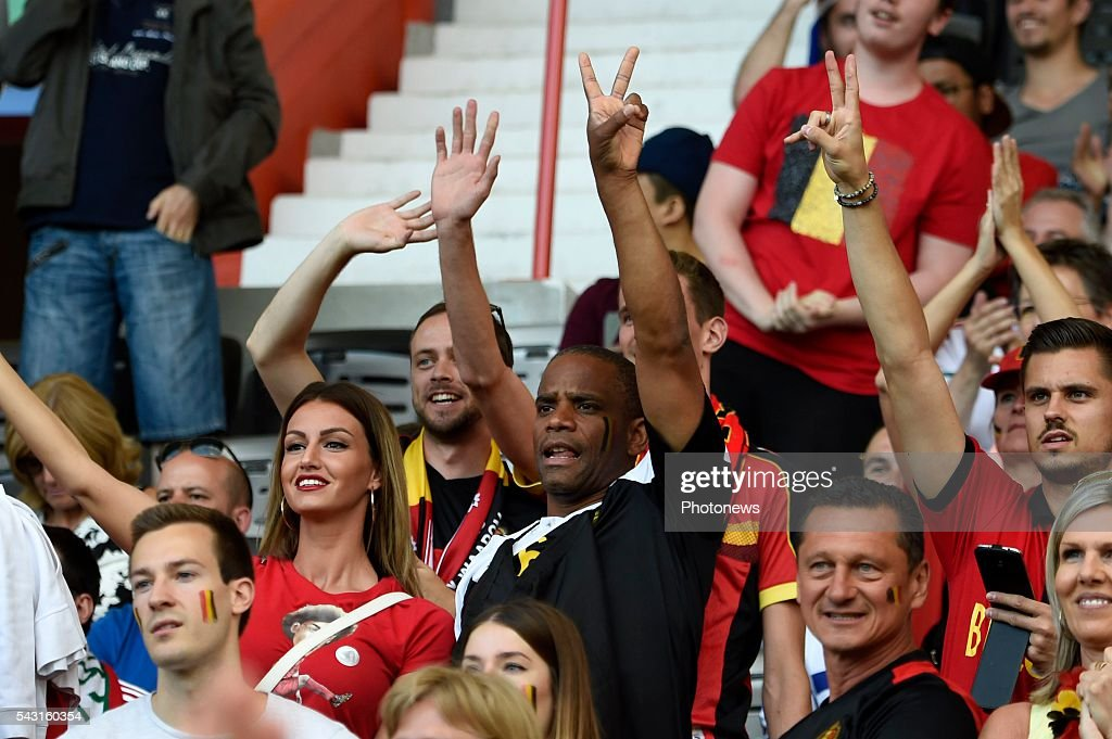 illustration picture of father of Axel Witsel midfielder of Belgium and his wife Rafaella and Eden Hazard midfielder of Belgium during the UEFA EURO 2016 Round of 16 match between Hungary and Belgium at the Stadium Toulouse on June 26, 2016 in Toulouse, France ,