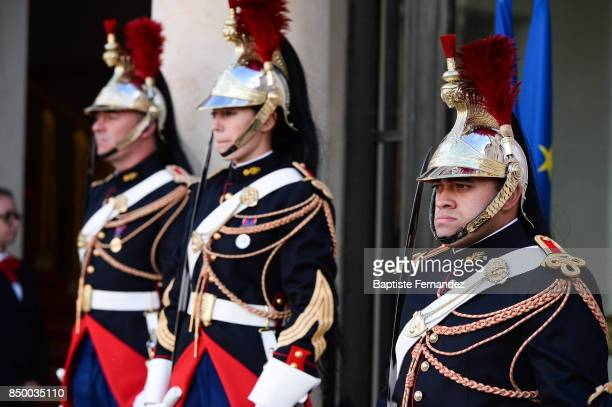 Illustration picture of French Republican Guard during the reception of the CIO by the French President at Elysee Palais on September 15 2017 in...