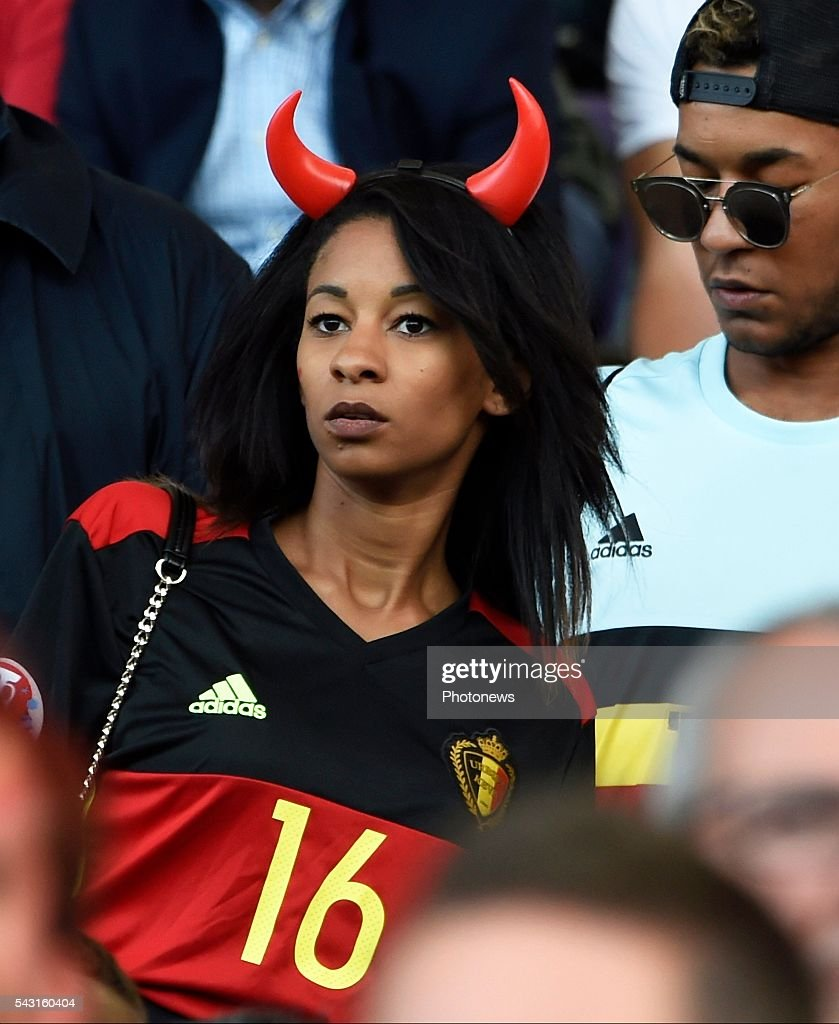 illustration picture of the family of Thomas Meunier defender of Belgium 's girlfriend Deborah during the UEFA EURO 2016 Round of 16 match between Hungary and Belgium at the Stadium Toulouse on June 26, 2016 in Toulouse, France ,