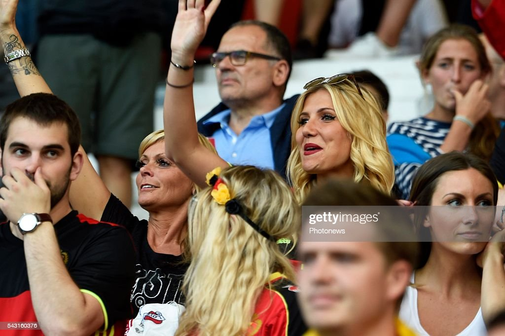 illustration picture of the family of Yannick Carrasco forward of Belgium Noemie Happart with mother during the UEFA EURO 2016 Round of 16 match between Hungary and Belgium at the Stadium Toulouse on June 26, 2016 in Toulouse, France ,