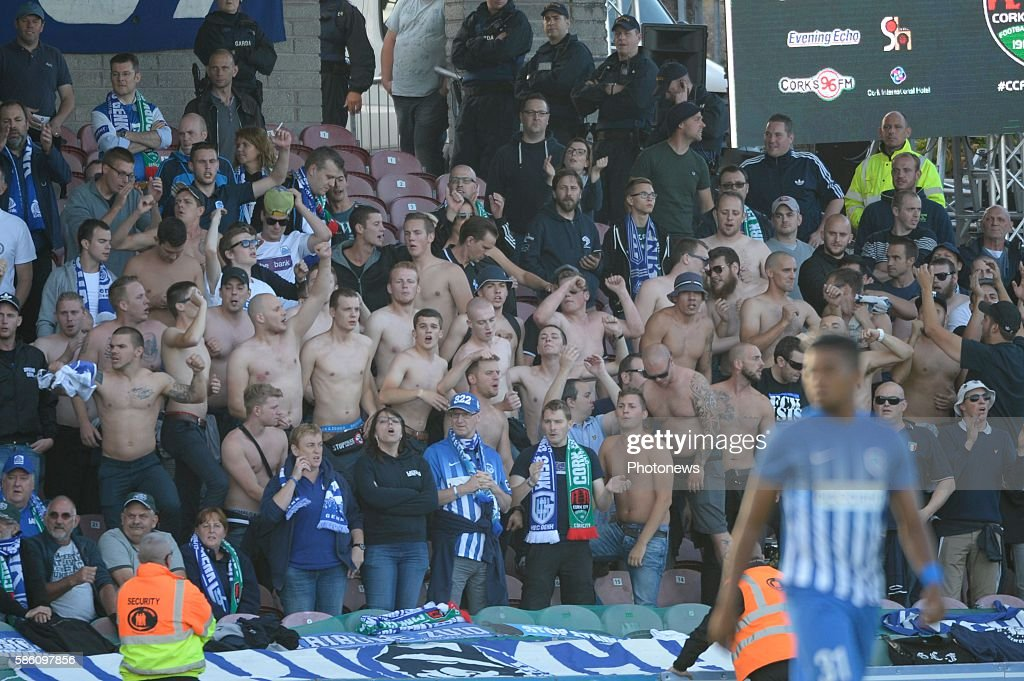 illustration picture of the fans of Genk pictured during UEFA Europa League third qualifying round 2nd Leg match between Cork City FC and KRC Genk on...
