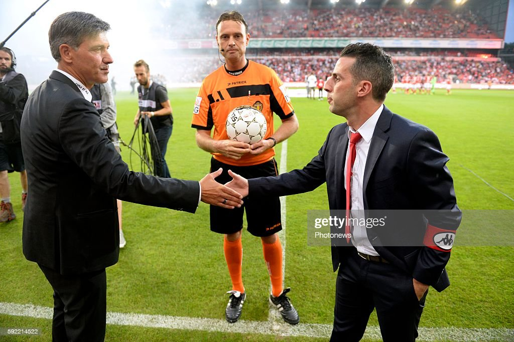 illustration picture off ire works and Yannick Ferrera head coach of Standard Liege and Mazzu Felice head coach of Charleroi pictured during Jupiler...
