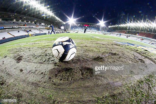 Illustration picture shows a ball on the muddy damaged pitch before the Jupiler Pro League match between Club Brugge and KV Kortrijk in Brugge on...