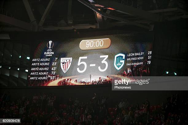 Illustration picture shows the final score pictured during the UEFA Europa League group F stage match between Athletic Club de Bilbao and KRC Genk at...