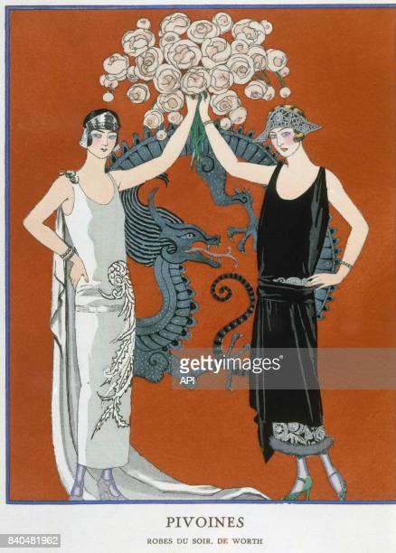 Illustration 'Pivoines' présentant des femmes portant les robes du soir de Worth publiée dans la 'Gazette du bon ton' de 1924