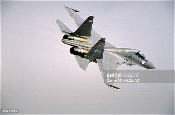 Illustration planes at the 44th Paris Air Show In Le Bourget France In June 2001 Sukhoi SU 30 MK
