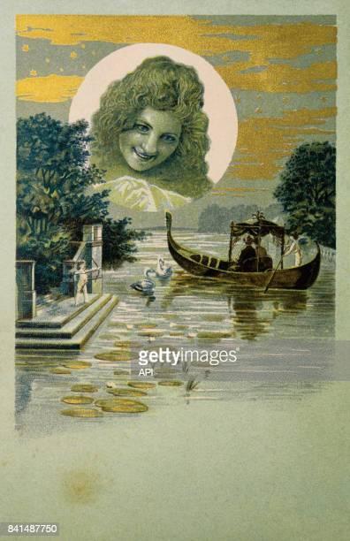 Illustration qui représente le portrait d'une jeune femme en médaillon de nuit dans la lune et un couple amoureux dans une gondole sur un étang