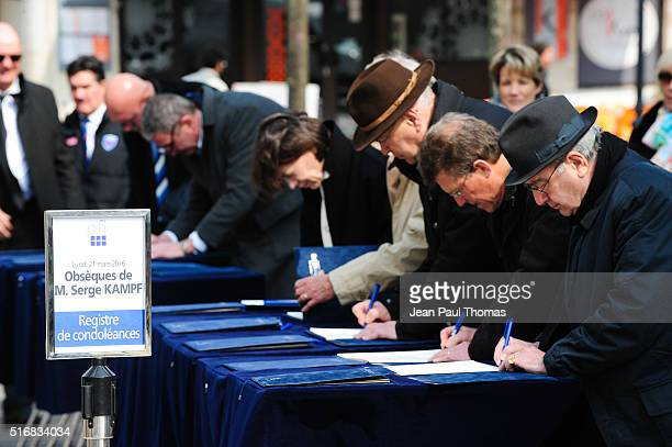Illustration register of condolences the funeral ceremony of Serge Kampf founder of French multinational management consulting corporation Capgemini...