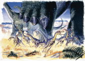 Illustration representing Compsognathus longipes hunting