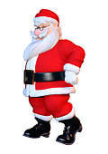 3D rendering of a Santa exercising isolated on white background