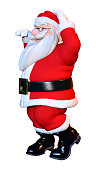 3D rendering of a Christmas Santa exercising isolated on white background
