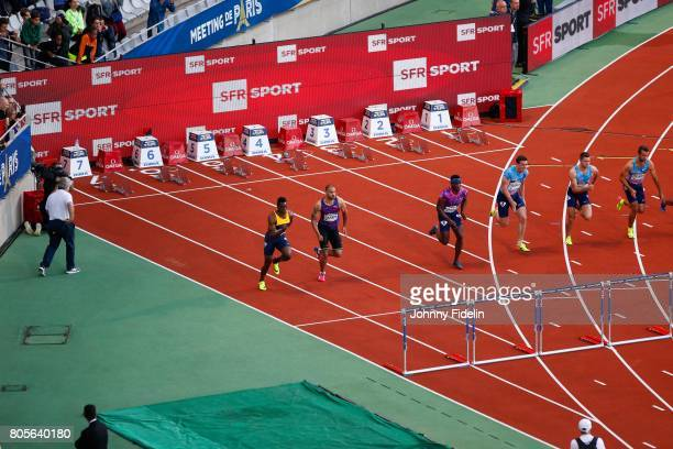 Illustration SFR Sport Ronald Levy of Jamaica Garfield Darien of France and Omar McLeod of Jamaica and Sergey Shubenkov 110m Hurdles during the...