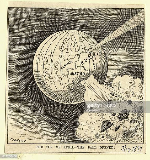 5/24/1877 Illustration showing a globe representation of the world with the country of Turkey exploding off into space while St Petersburg Russia...