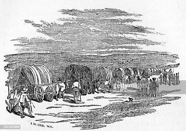 Illustration showing a long line of wagons as Mormons emigrated to Utah in 1847 Published in the book 'Life in Utah or The Mysteries and Crimes of...