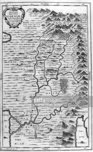 Illustration showing a map of the garden of Eden from Arca Noe by Athanasius Kircher Published Amsterdam 1675 Athanasius Kircher a Jesuit was a...