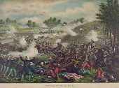 Illustration showing a scene from the First Battle of Bull Run between Union and Confederate forces during the American Civil War near Manassas...
