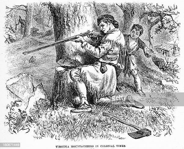 Illustration showing a Virginia 'mountaineer' taking cover behind a tree to fire his rifle at attacking Native Americans as his young boy stands...
