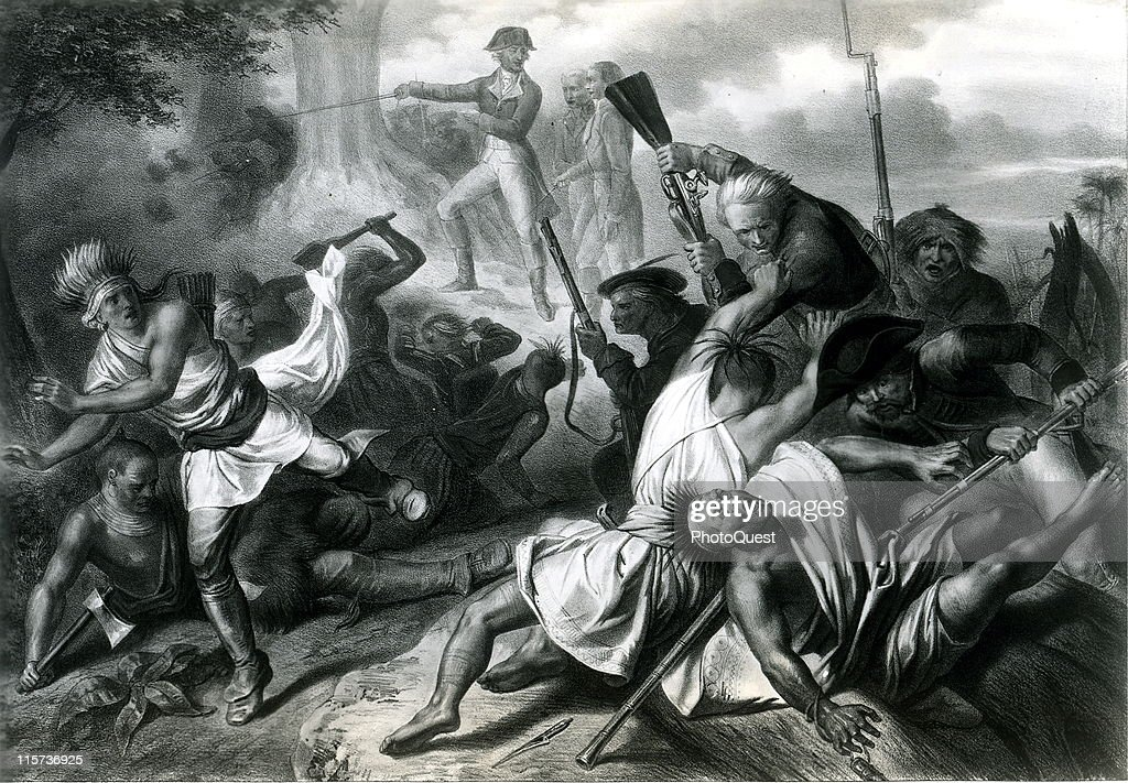 Illustration showing George Washington in the midst of fighting during the French and Indian War a conflict between the British and the French aided...