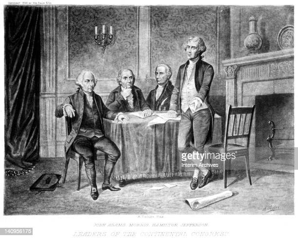 Illustration showing leaders of the Continental Congress from left to right John Adams Robert Morris Alexander Hamilton and Thomas Jefferson from a...