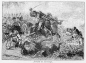 Illustration showing Major General Benedict Arnold rallying the American troops and performing heroically during the Battle of Saratoga during the...