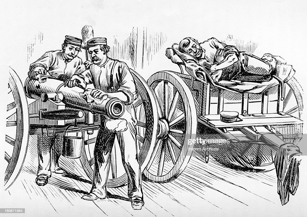 Illustration showing members of Battery B, National Guard of the State of New York, equipping for a move, during draft riots of the American Civil War, New York, July 1863. Published in Pen and Pencil Sketches of the Great Riots.