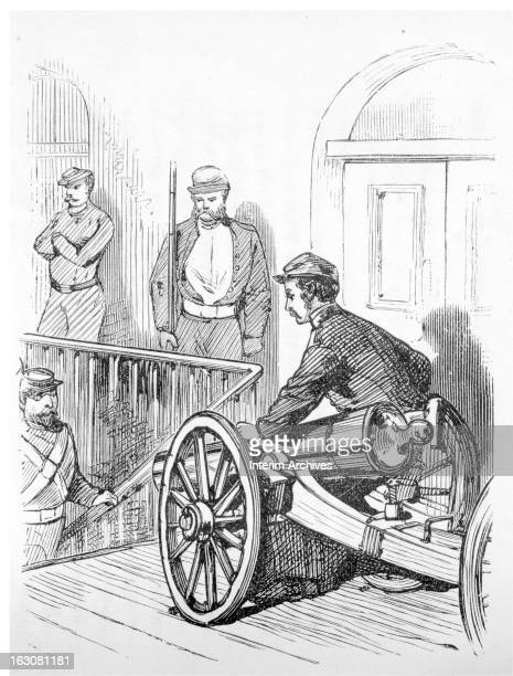 Illustration showing members of the Seventh Regiment of the National Guard of the State of New York placing artillery in defense of a stairway at the...