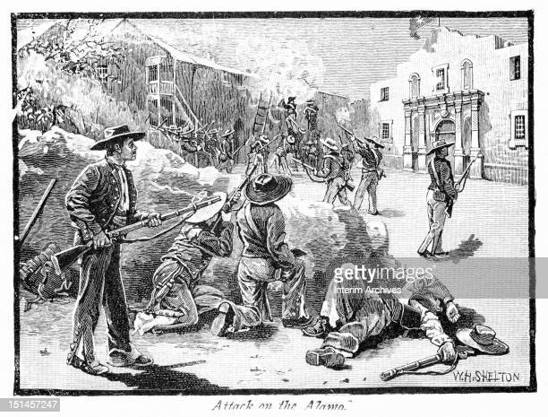 Illustration showing Mexican Army troops attacking and scaling the walls of the Alamo San Antonio Texas March 6 1836 Published in Shinn's History of...