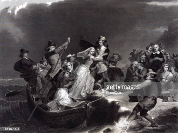Illustration showing pilgrims stepping off a rowboat onto shore while landing at Plymouth Rock in Massachussetts 1620 Engraving by J Andrews after a...