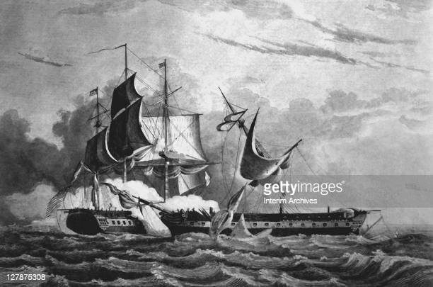 Illustration showing the capture of the HMS Guerriere by the USS Constitution during the War of 1812 August 1812