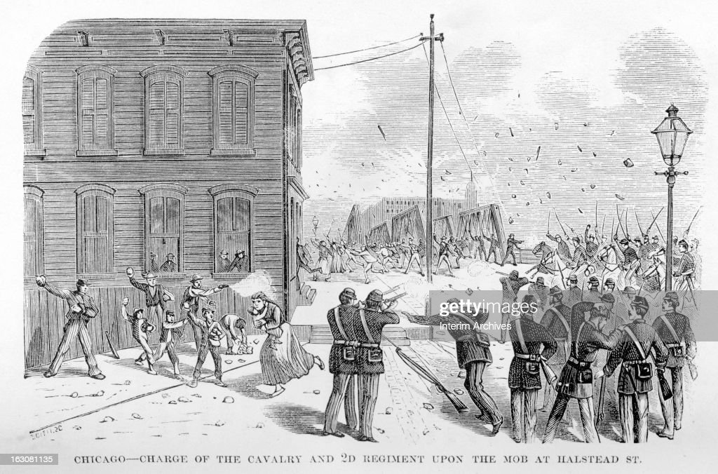 Illustration showing the charge of the cavalry and 2nd regiment upon the mob at Halsted Street, during the Great Railroad Strike of 1877, Chicago, July 25, 1877. Members of the mob can be seen throwing rocks and firing upon the regiment. Published in Pen and Pencil Sketches of the Great Riots.