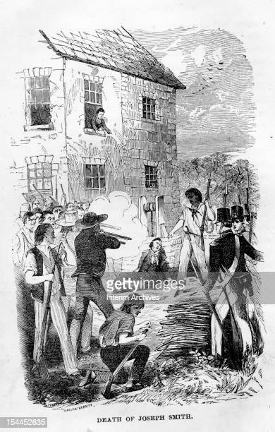Illustration showing the death of Joseph Smith founder of the Mormon Church as he was attacked and shot by a mob while incarcerated at the Carthage...