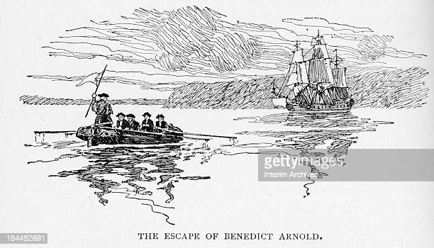 Illustration showing the escape of American Revolutionary general and traitor Benedict Arnold as he is rowed across towards the British ship Vulture...