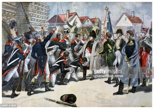 Illustration showing the French Emperor Napoleon I adored by his army 1800