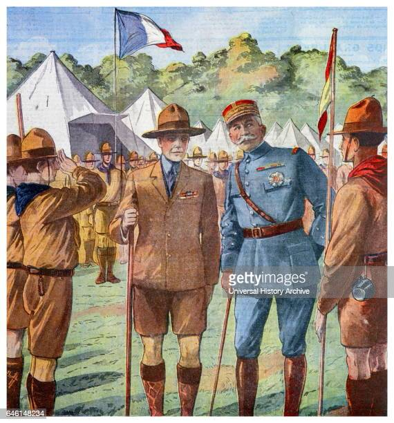 Illustration showing the inspection of French scouts by Edward VIII and General Louis Lyautey a French Army general and colonial administrator From a...