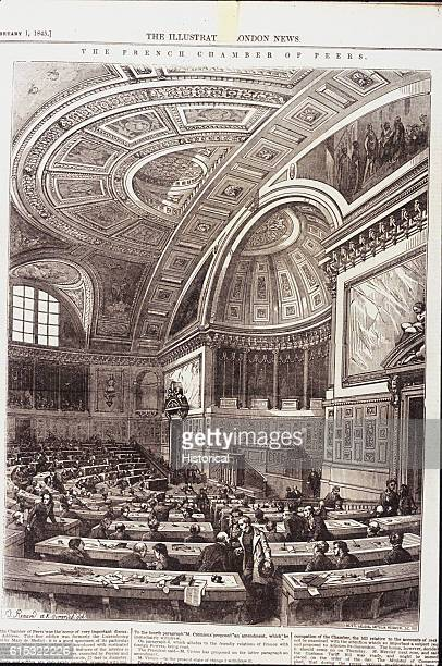 Illustration showing the semicircular Chamber of Peers in the former Luxembourg Palace France ca 1845
