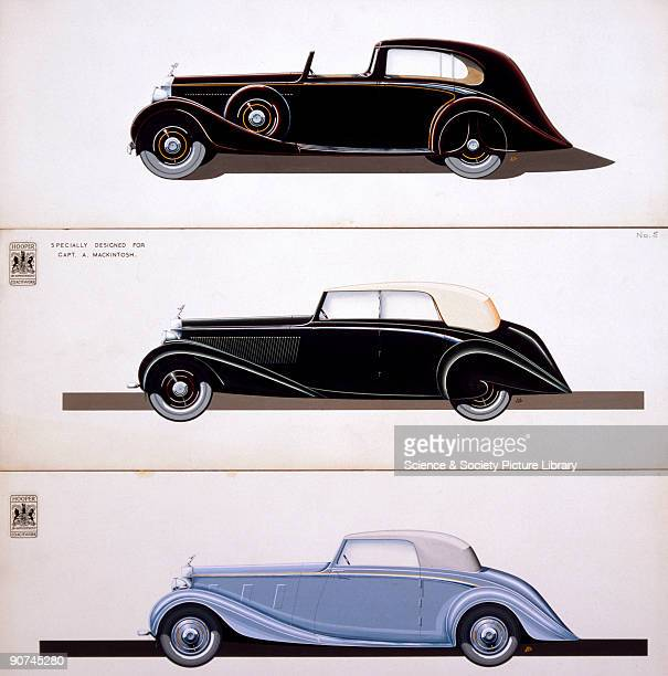 Illustration showing three RollsRoyce Phantom III motor cars with coachwork by Hooper The top car is a 4050 hp Phantom III 'e' model built for the...