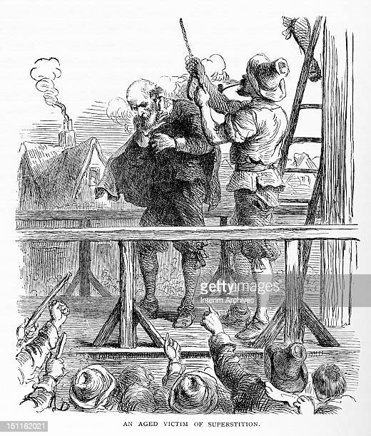 Illustration shows a hangman as he adjusts a noose upon the neck of an elderly man accused of 'superstition' while a crowd of onlookers jeer and...