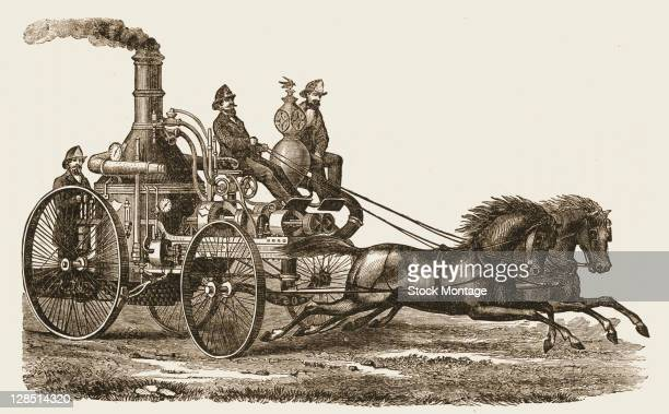 Illustration shows a horsedrawn Eagle Steam Fire Engine No 3 Boston Massachusetts early 1870s