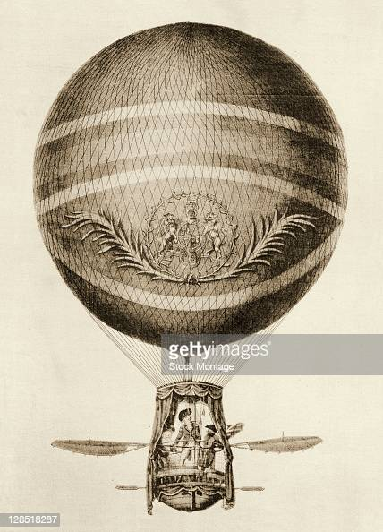 Illustration shows a hydrogen balloon designed by Italian inventor and aeronaut Vincenzo Lunardi 1785