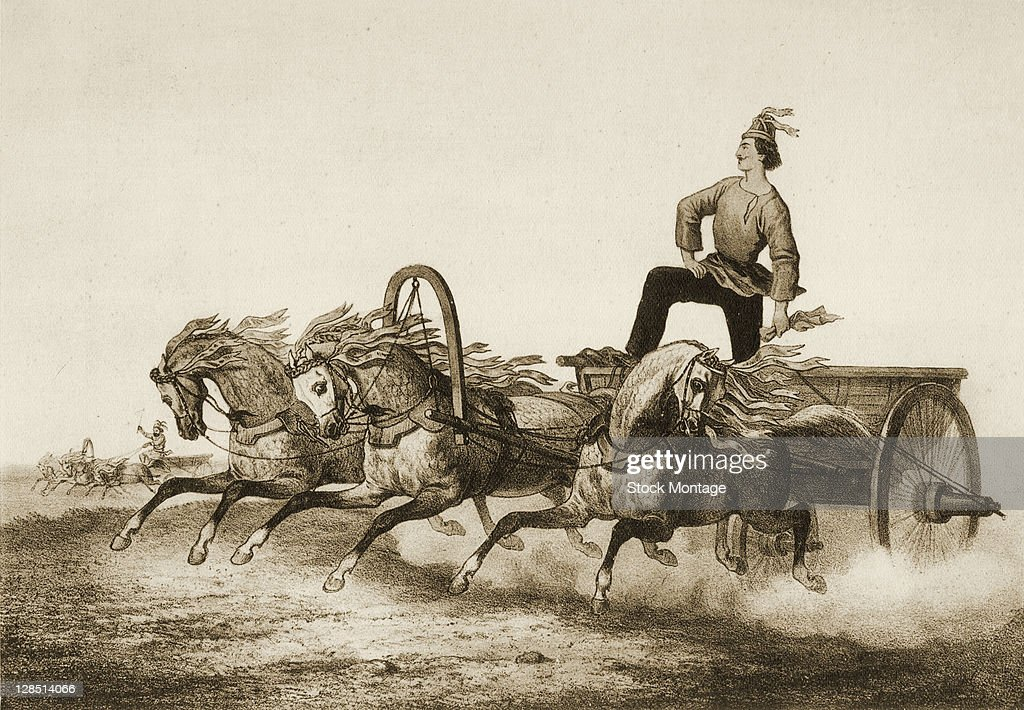 Illustration shows a man as he stands up in a troika driven across flat open country Russia 19th century