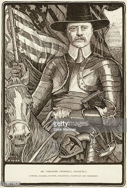 Illustration shows a portrait of American President Theodore Roosevelt astride a horse and dressed in a suit of armor and a hunter's hat accompanied...