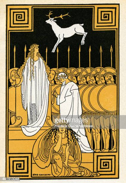 Illustration shows a scene before the sacrifice of Iphigenia at Aulis as the goddess Artemis sends a deer to be sacrificed in the girl's place Italy...